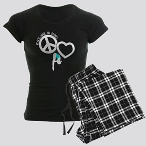 PEACE-LOVE-DIVING Women's Dark Pajamas